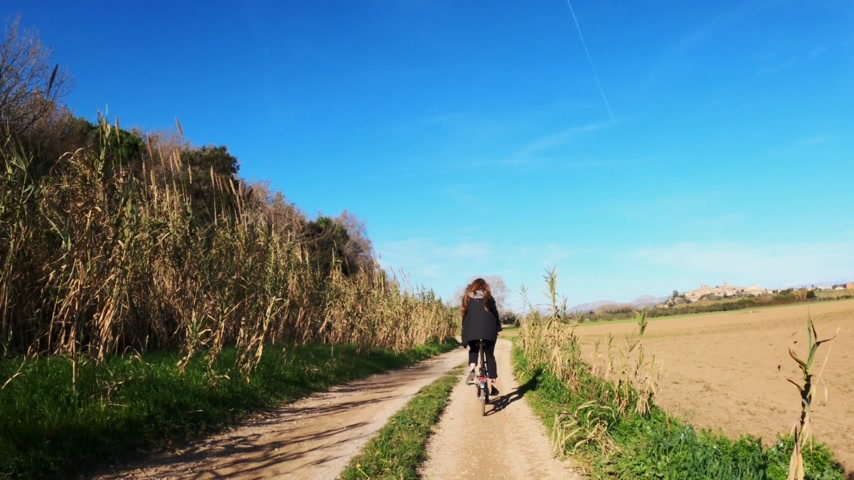 A girl with long hair rides a bicycle on a rural road among fields, forests and meadows. Picturesque countryside. Rural bike ride. Alleys, forests with pines and cypresses. Golden light. Filmati Stock