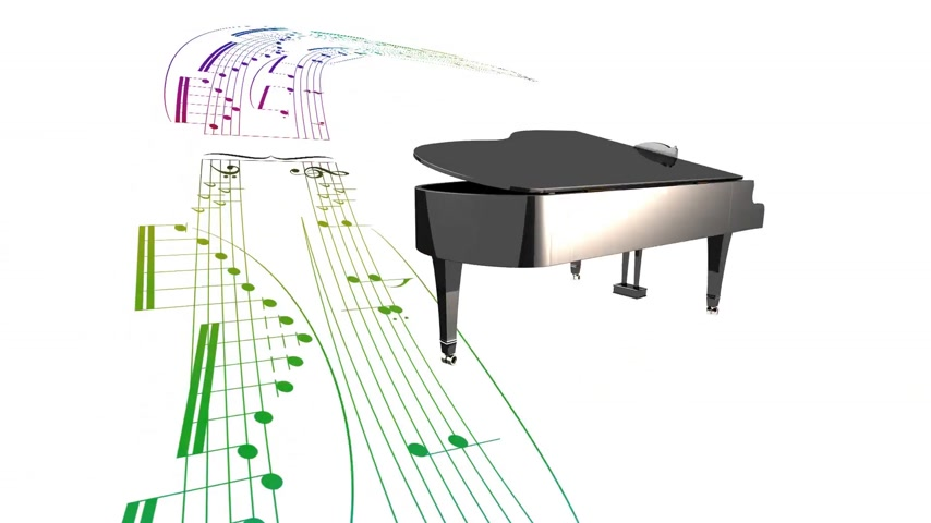piyano : Dancing grand piano and scrolling music partition sheet Stok Video