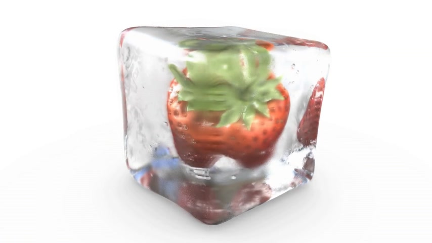 botanics : A strawberry into an ice cube turning on itself. Loop footage.