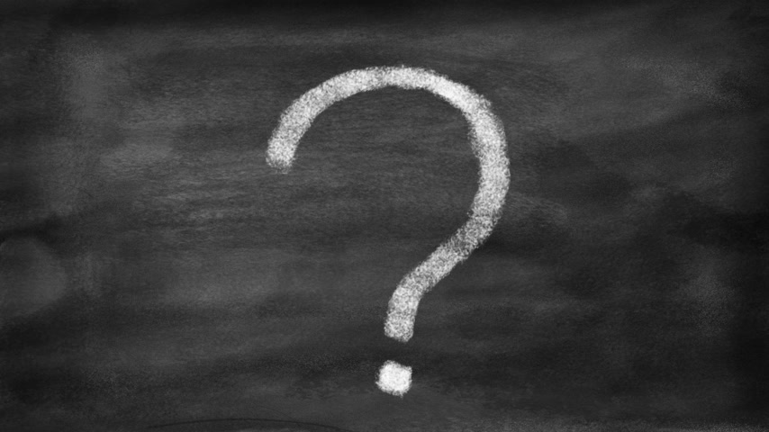 kérdések : Drawing a question mark Transformed into a light bulb. Concept of idea coming from reflection. Motion stop with style like chalk on a blackboard.