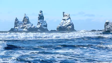 dykes : Three pinnacles of Vik South Iceland in winter