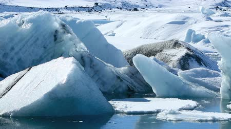 climate : Global warming at a glacier lagoon Jokulsarlon Stock Footage
