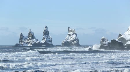 dykes : Three Pinnacles of Vik, South Iceland in winter, slow motion