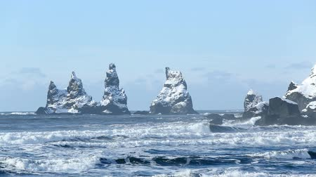 dykes : The Three Pinnacles of Vik, South Iceland in winter Stock Footage