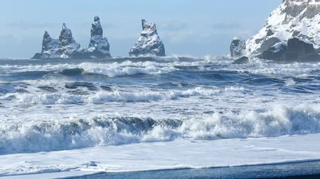 dykes : Three Pinnacles of Vik, South Iceland in winter