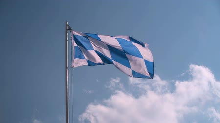 bavaria flag : Bavarian flag in front of a blue sky