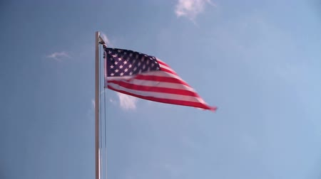 tourism : American flag waving in the wind