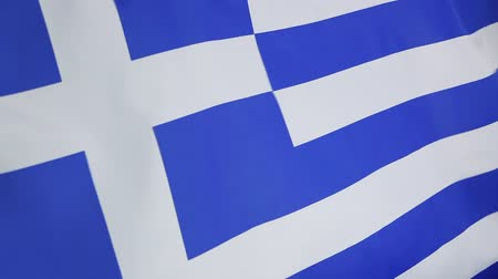 греческий : Closeup of a textile flag of Greece Стоковые видеозаписи