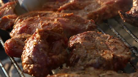 carne de porco : Closeup of pork on a BBQ grill