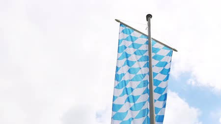 bavaria flag : Bavarian flag with cloudy sky Stock Footage