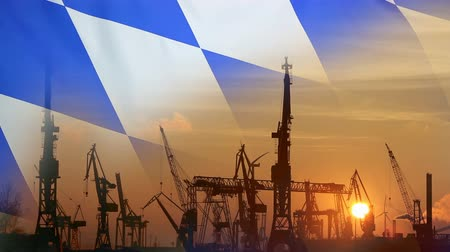 bavaria flag : Industrial concept with bavarian flag at sunset