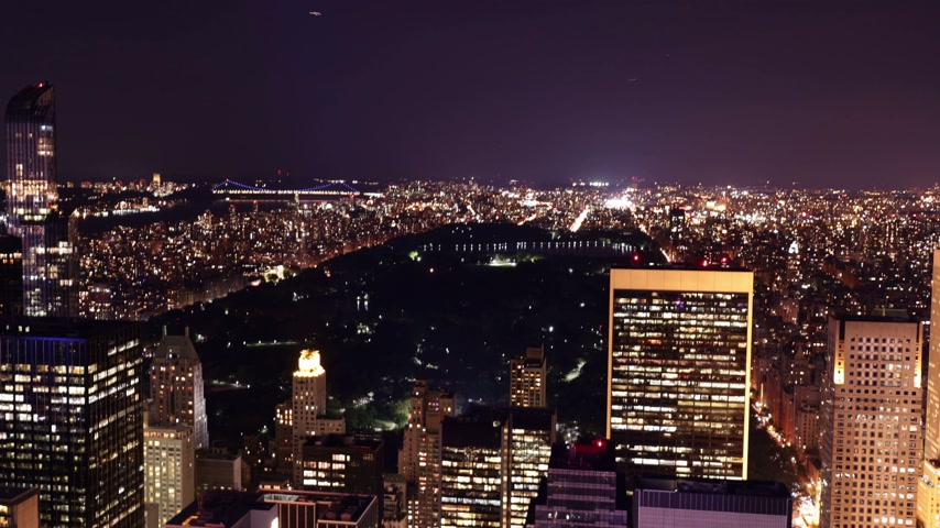 trabalho : night light new york uptown central park view 4k time lapse Vídeos