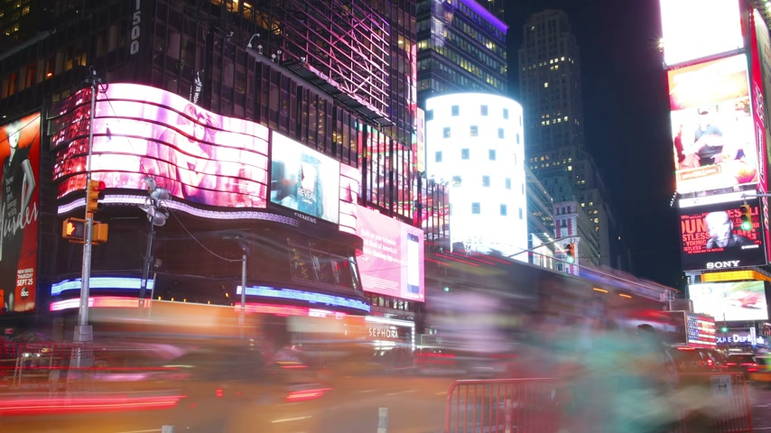 old times : new york city - september 16: times square broadway theaters and advertising leds. september 16, 2014 in manhattan, new york city Stock Footage