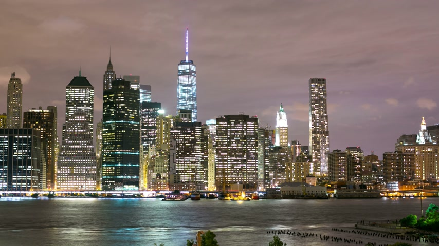 mosty : night light fredom tower panoramic view 4k time lapse from new york