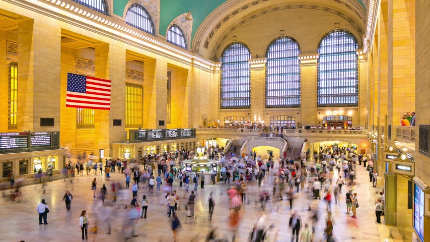 américa central : day light grand central 4k time lapse from new york city Vídeos