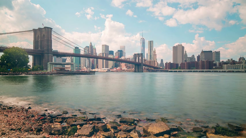 nyc : beautiful day broolkyn bridge panoramam 4k time lapse from new york