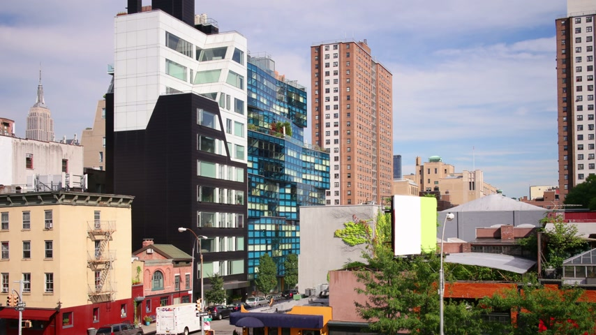 greenwich : manhattan high line park street view 4k time lapse Stock Footage