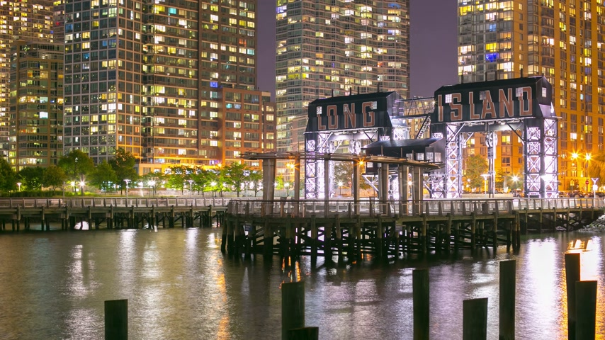 tower bridge : night light long island pier park 4k time lapse from new york