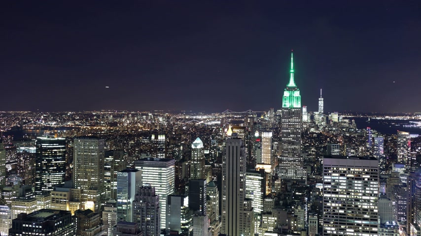 imparatorluk : empire state building night view from top of the rock 4k time lapse