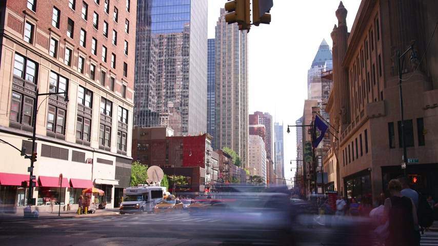 apartamentos : day light manhattan crossroad 4k time lapse from new york city