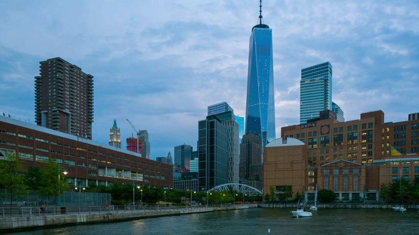 merkez : manhattan west street freedom tower view 4k time lapse Stok Video