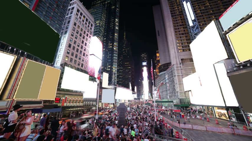 sunset city : famous times square night light life 4k time lapse from new york city usa
