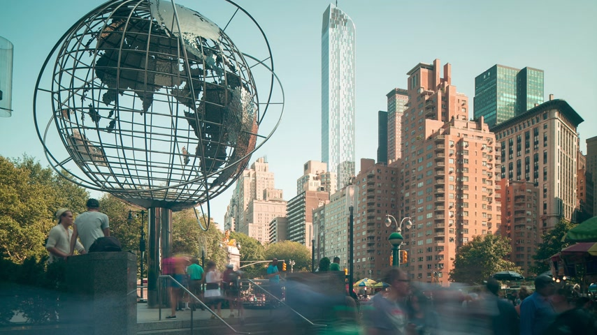 quadrado : sunny day columbus circle 4k time lapse from manhattan new york