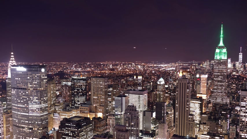 nyc : top of the rock night panorama 4k time lapse from new york