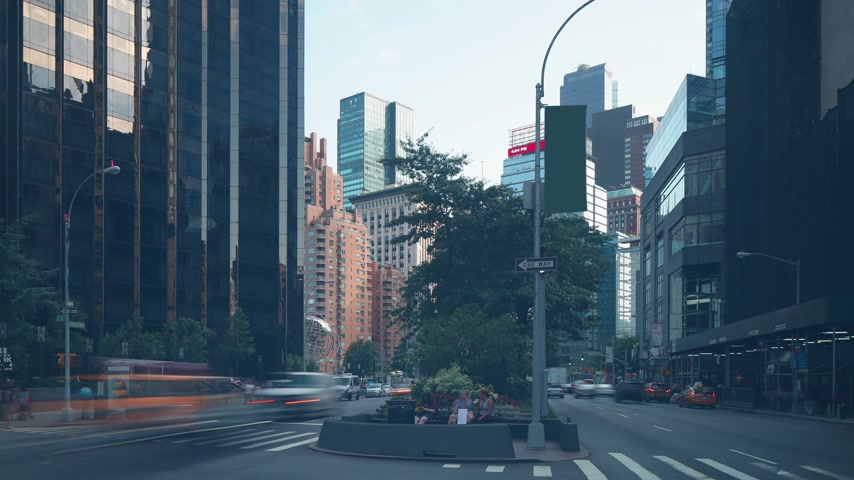 eski moda : manhattan traffic street near columbus circle 4k time lapse from nyc