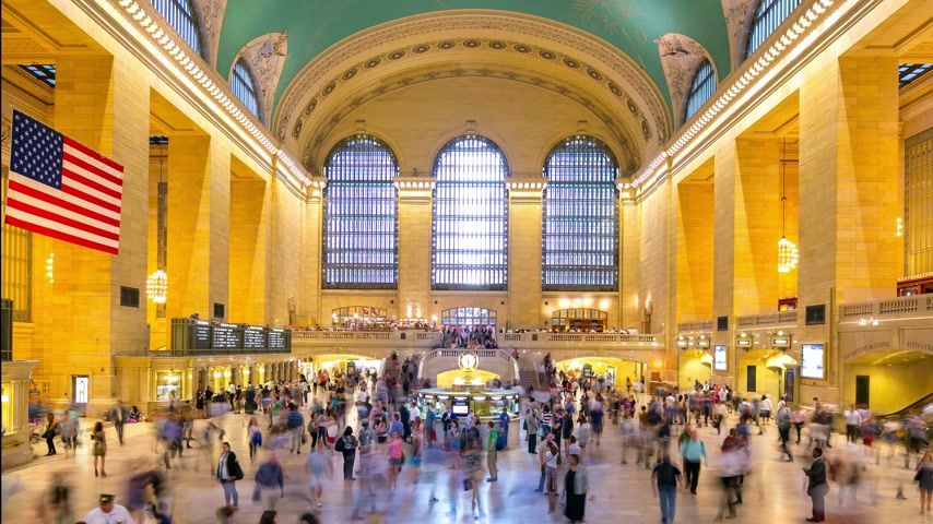 américa central : grand central building interior day light 4k time lapse from ny