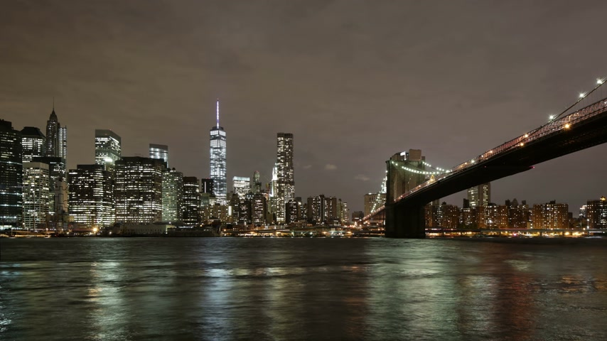 nyc : night light brooklyn bridge manhattan view 4k time lapse from new york