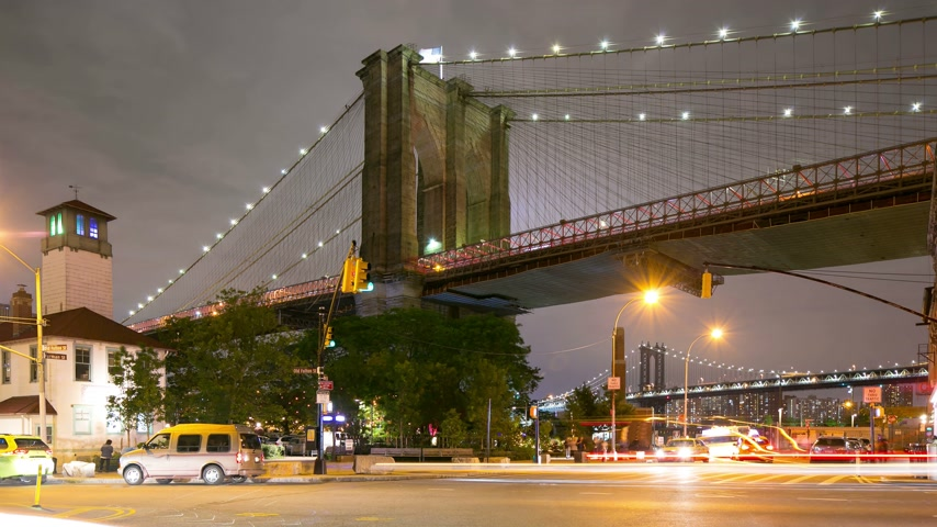 freedom tower : night light traffic crossroad brooklyn bridge park 4k time lapse from nyc