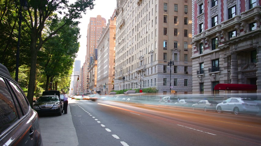 parque : park avenue sunny day traffic street 4k time lapse fromnew york city
