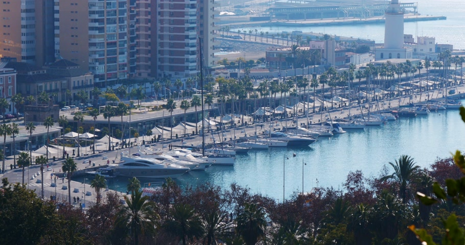 malagueta : malaga sunny day dock pier 4k view from the spain top