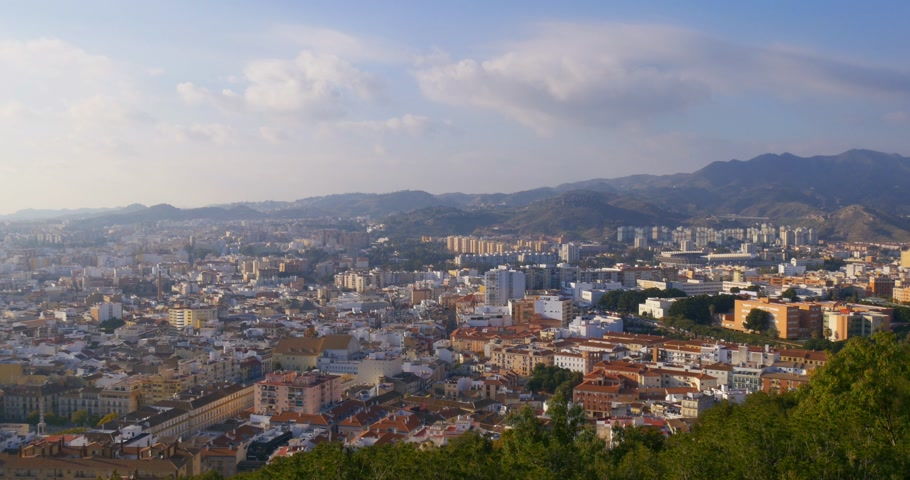 malagueta : 4k malaga city center top view panorama sunny day from spain Stock Footage