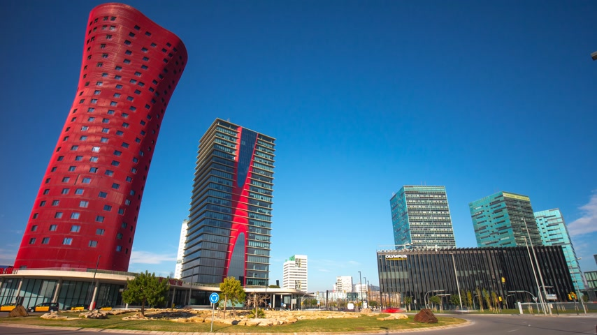 santos : sunny day barcelona hotel tower porta fira panorama 4k time lapse spain Stock Footage