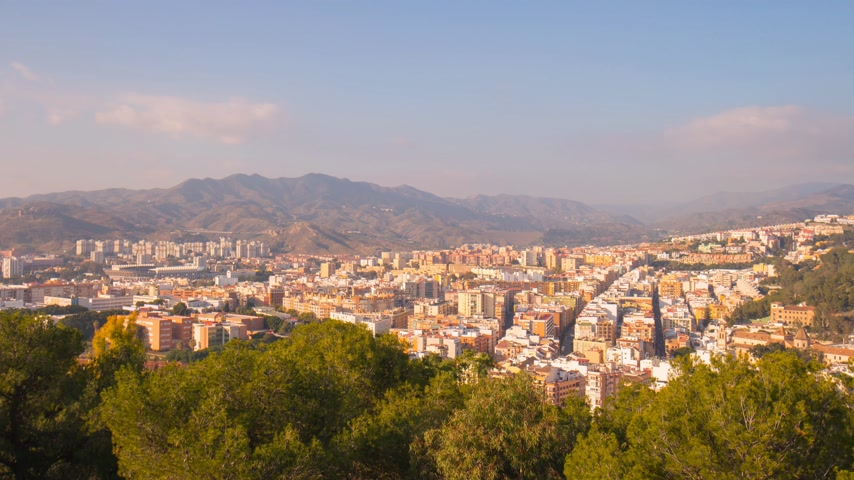 bull ring : spain sunny day malaga city mountain panorama 4k time lapse Stock Footage