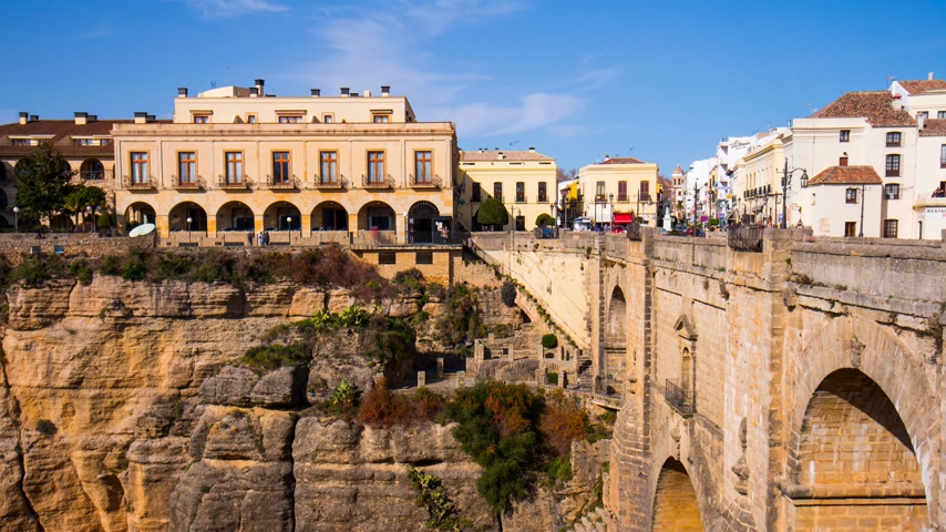 spanyolország : sun light famous ronda bridge hotel view 4k time lapse spain