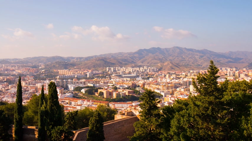 bull ring : spain malaga sun light city panorama from castle 4k time lapse