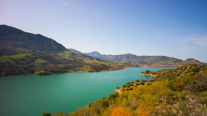 olive colored : mountain sunny day colored lake medow view 4k time lapse spain