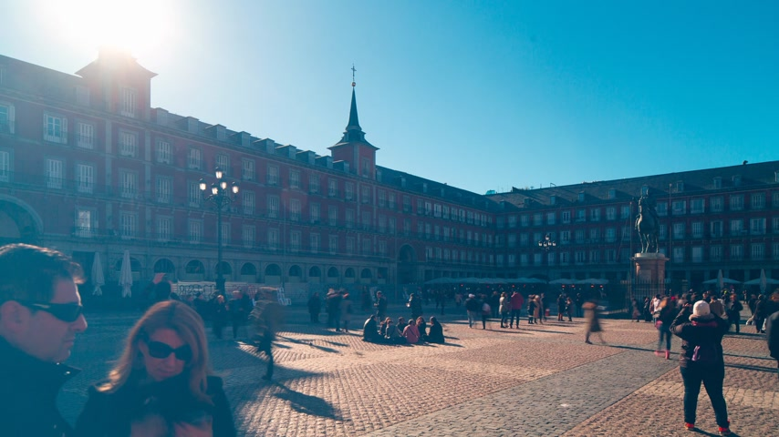 palacio real : sun light plaza mayor crowded tourist panorama 4k time lapse spain
