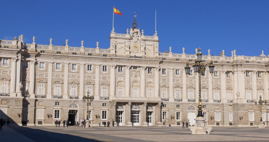 palacio real : madrid sunny day royal palace main entrance 4k spain
