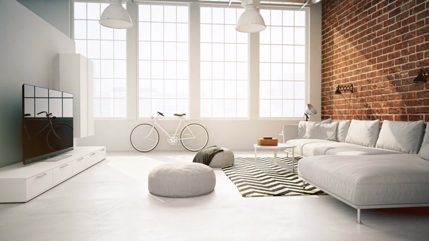 мебель : living room loft interior. with leaks.  3d rendering