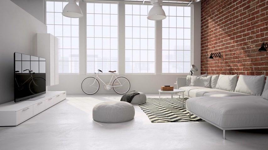 интерьер : living room loft interior. neutral. 3d rendering