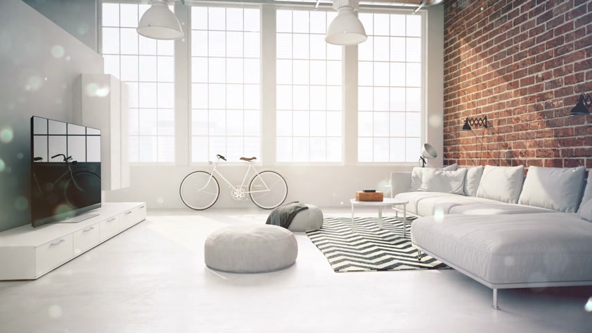 apartamentos : living room loft interior. with flakes. 3d rendering Stock Footage