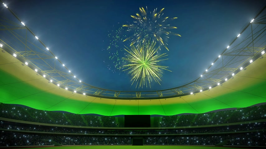 арена : stadium in lights with fireworks. loop able. 3d rendering