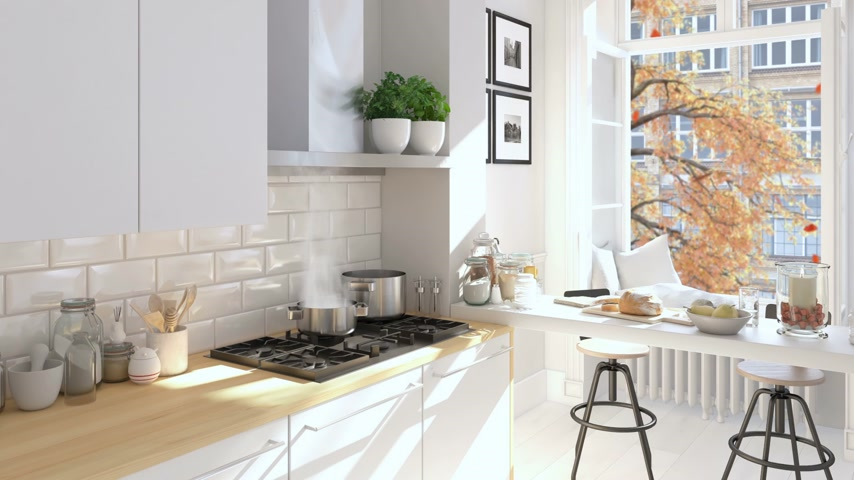 kitchen furniture : cinemagraph of a nordic kitchen . 3D rendering. autumn concept. hd. loop