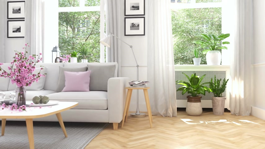 modern tasarım : scandinavian modern living room in townhouse. 3d rendering Stok Video