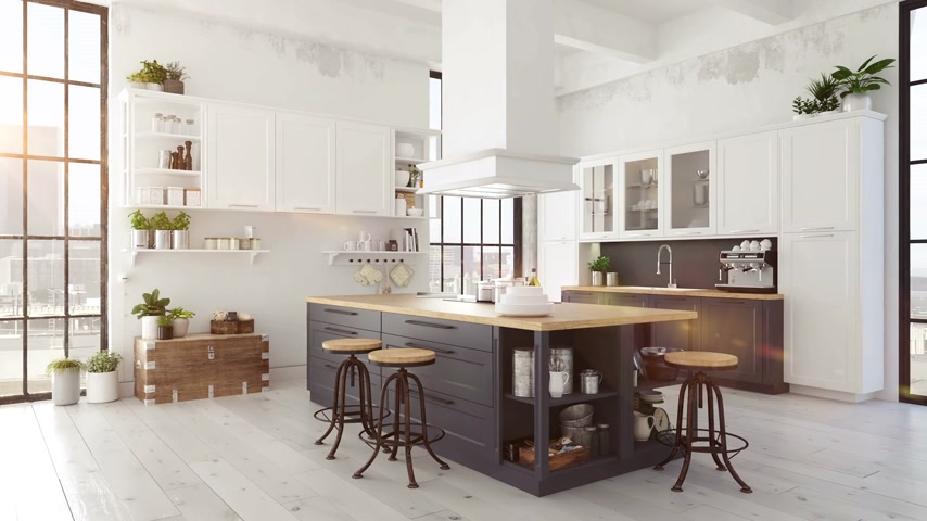 мебель : modern nordic kitchen in loft apartment. 3D rendering