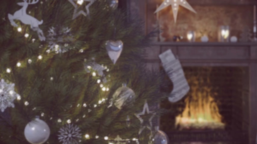 cozy : cozy christmas interior with fire place and christmas tree. 3D RENDERING